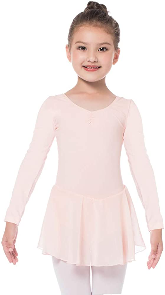 Bezioner Ballet Dress Ballet Leotards with Skirt Dance Tutu Short Sleeve Skirted for Toddler Girls Kids
