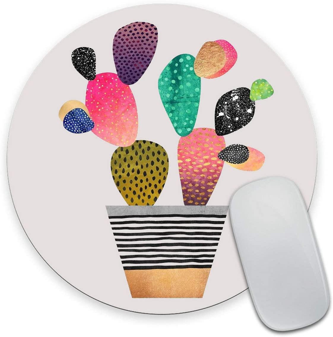 Smooffly Round Gaming Mouse Pad Custom Design, Watercolor Cactus Circular Non-Slip Rubber Mousepad