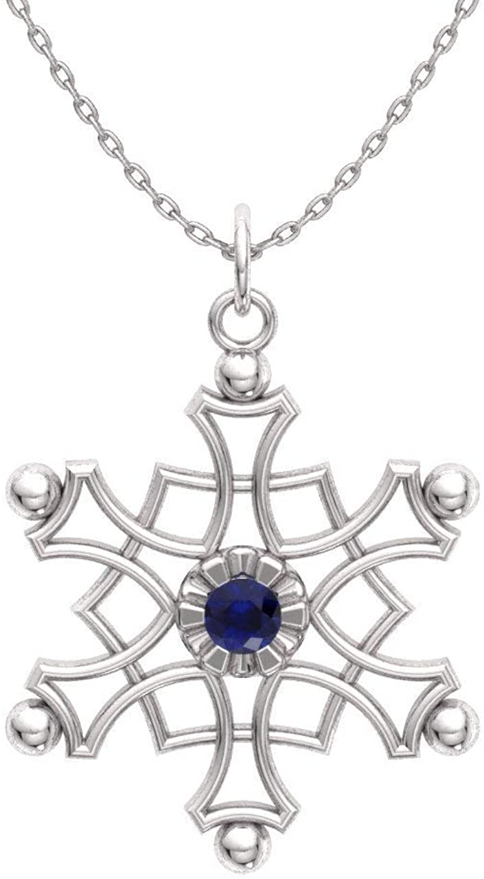 Diamondere Natural and Certified Sapphire Snowflakes Charm Necklace in 925 Sterling Silver | 0.19 Carat Pendant with Chain