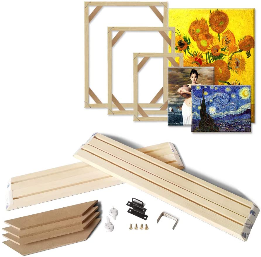 ASENART DIY Wood Stretcher Bars for Canvas Stretching Wall Art Soild Nature Wooden Picture Poster Frame 15.7x15.7inch