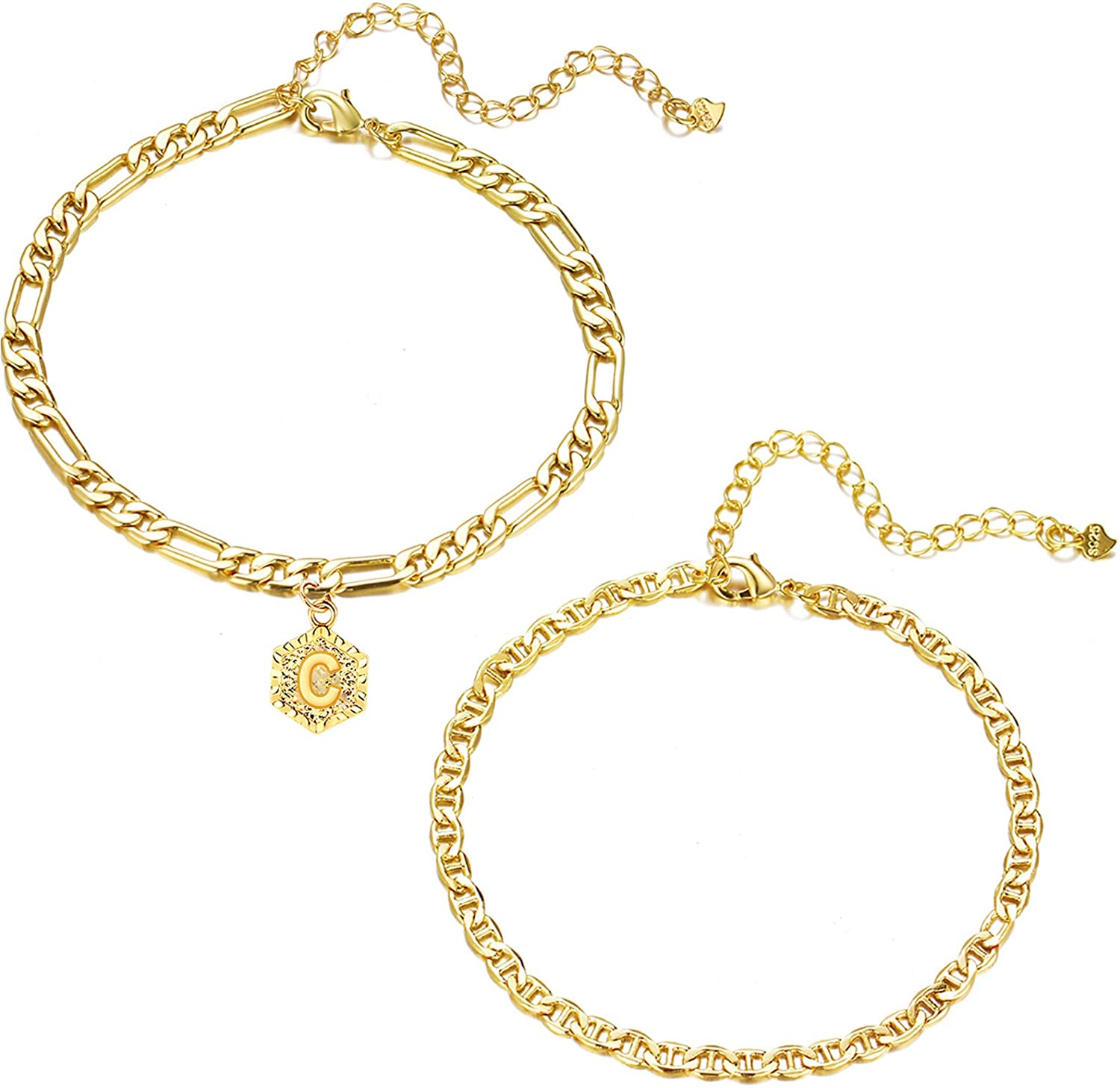 Gold Initial Anklets for Women,Flat Mariner Chain Link Anklet,Dainty Hexagon Shaped Letter Figaro Chain Initial Ankle Bracelets Summer Foot Jewelry …