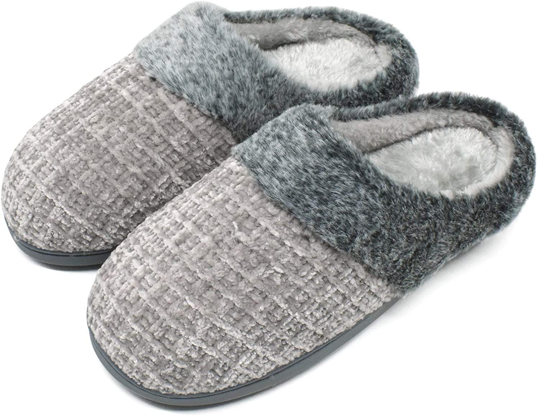 jiajiale House-Slippers-for-Women-Chenille-Women's-Scuff-Slippers Memory Foam Fuzzy Furry Womens Slip-on Mule House Shoes Faux Fur Fluffy Clog Slipper for Women