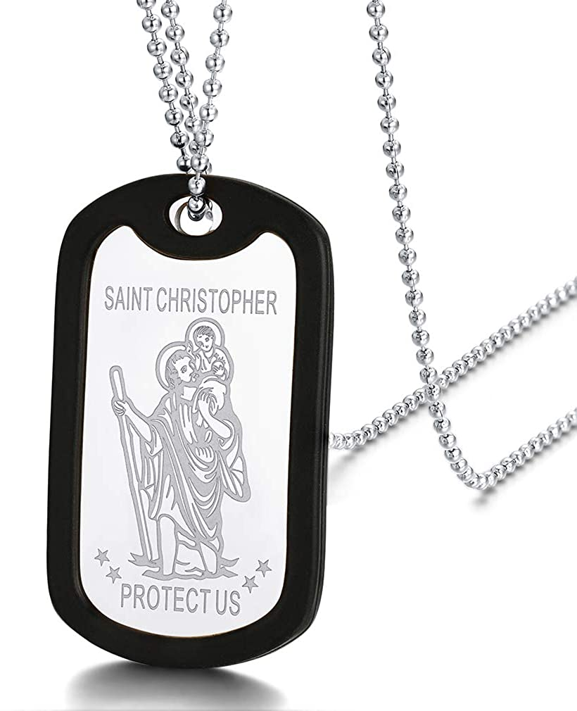 FaithHeart Saint Michael Archangel/Christopher Silicone Dog Tag Pendant Necklace for Men, Catholic Patron Saints Jewelry Talisman