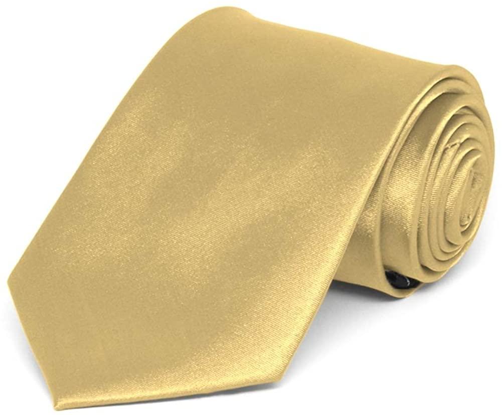 TieMart Boys' Pale Gold Solid Color Necktie
