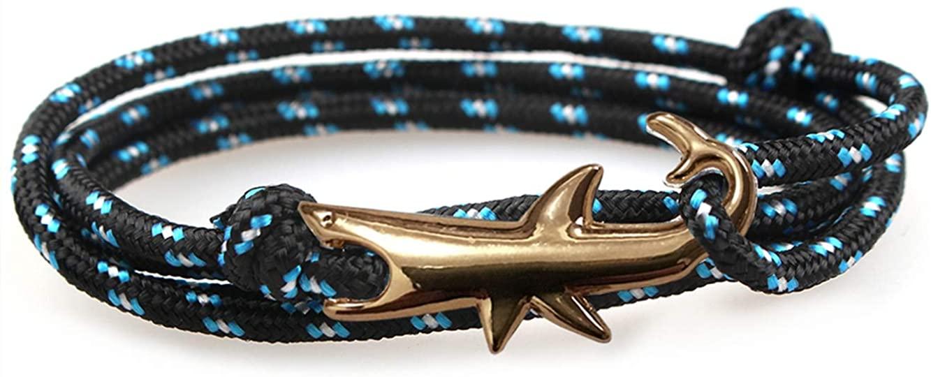 Unisex Nylon Rope Shark Wrap Bracelet for Men and Women 30 Inches