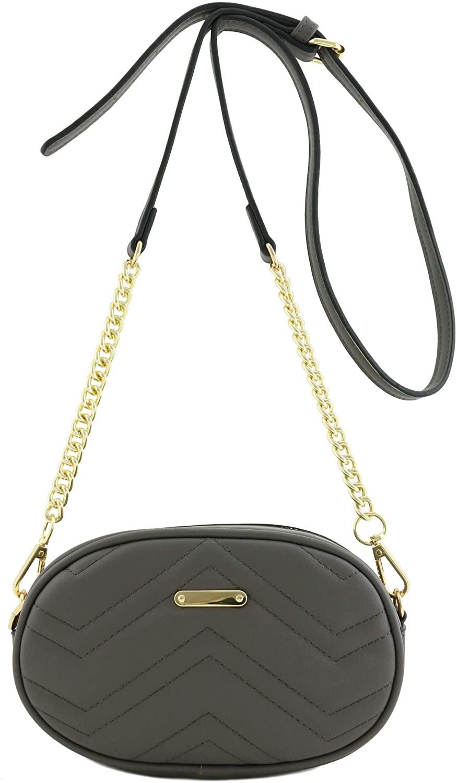 Quilted Small Versatile Purse Fanny Pack Waist Bag Crossbody Dark Grey