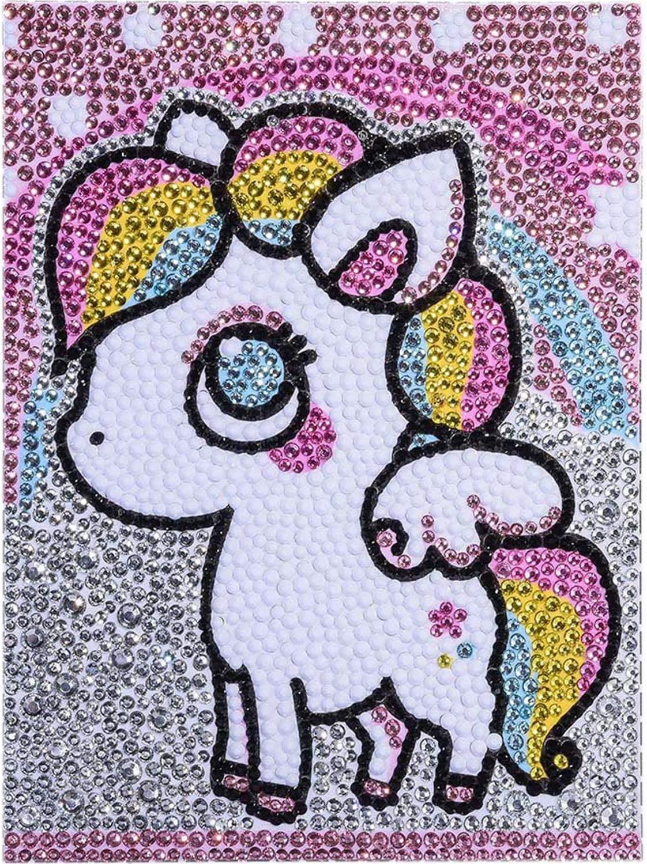 5D Diamond Children's Painting kit, Full Diamond Drawing Kit by Number, Children's Diamond Embroidery, Home Wall Decoration kit with Wooden Frame (Rainbow Horse)