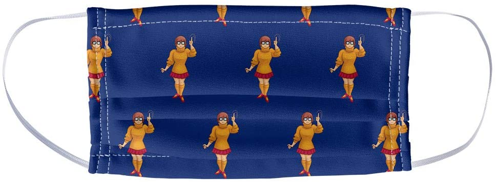 Scooby-Doo Velma Character Pattern 1-Ply Reusable Face Mask Covering, Unisex
