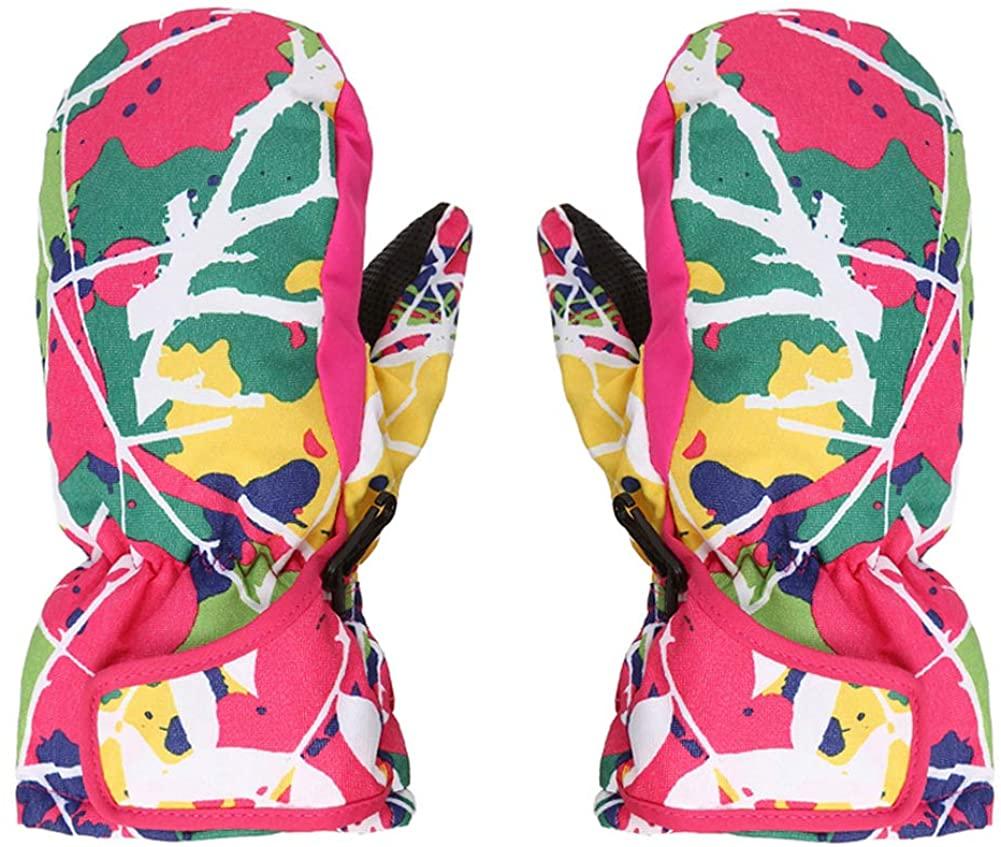 Kids Girls Winter Warmest Waterproof Gloves Cold Weather Snowboard Ski Gloves
