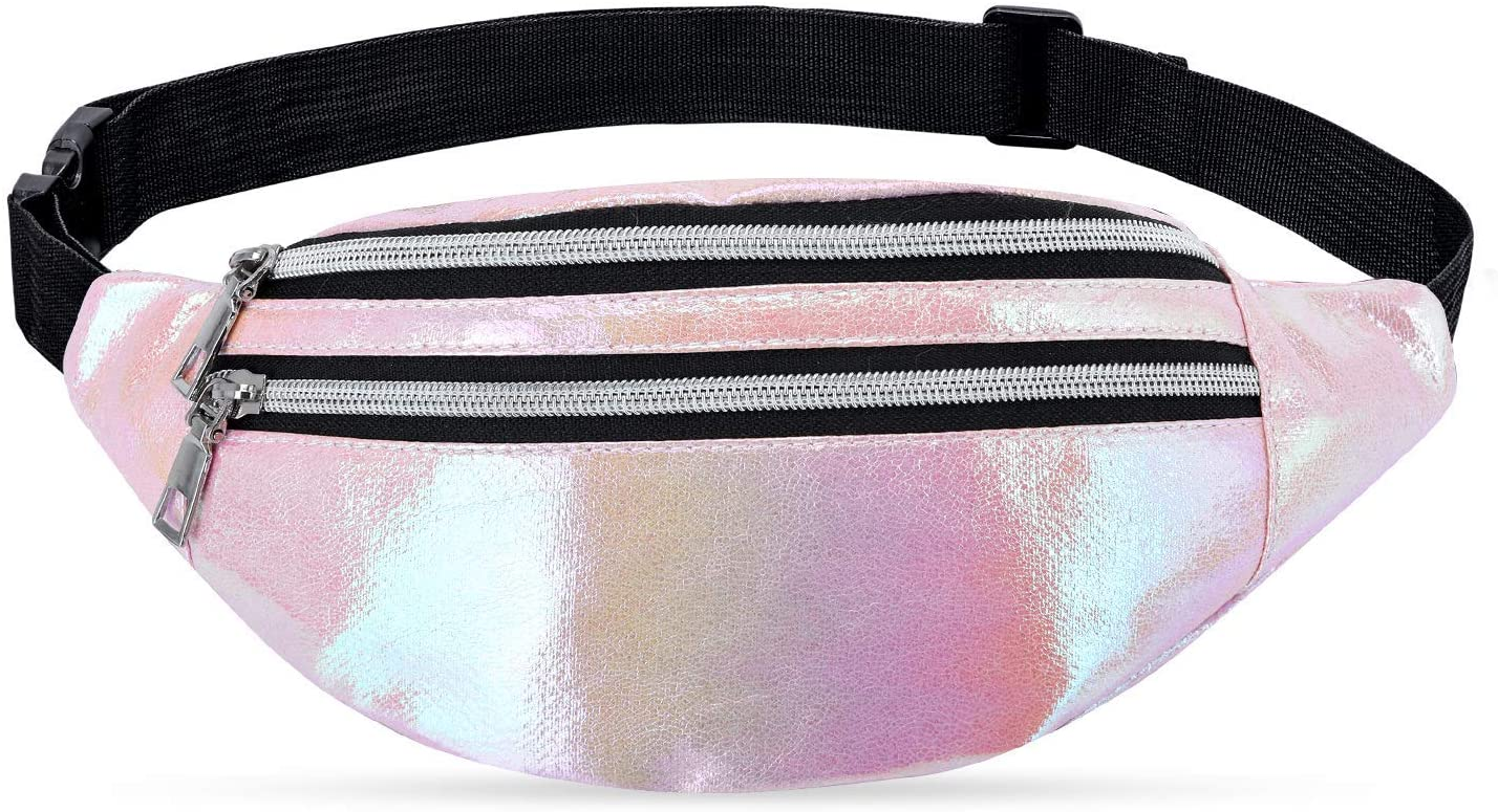 LIVACASA Fanny Packs for Women Waist Packs for Women Cute Shiny Holographic Waterproof for Party Festival Running Hiking