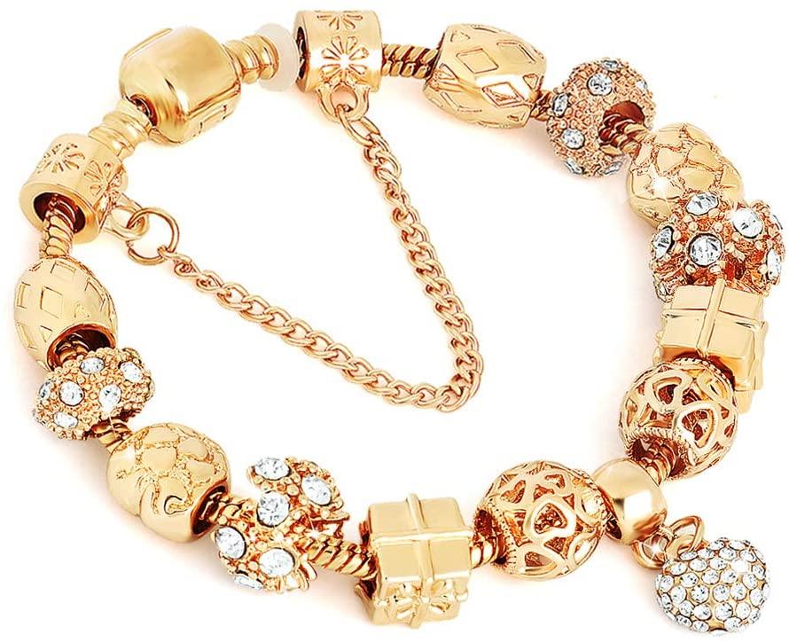 Fashion Jewelry Bracelet-Morenitor Beaded Bracelet Handmade Carved Sterling Silver Plated Snake Chain Bracelet Charm for Women (Gold)