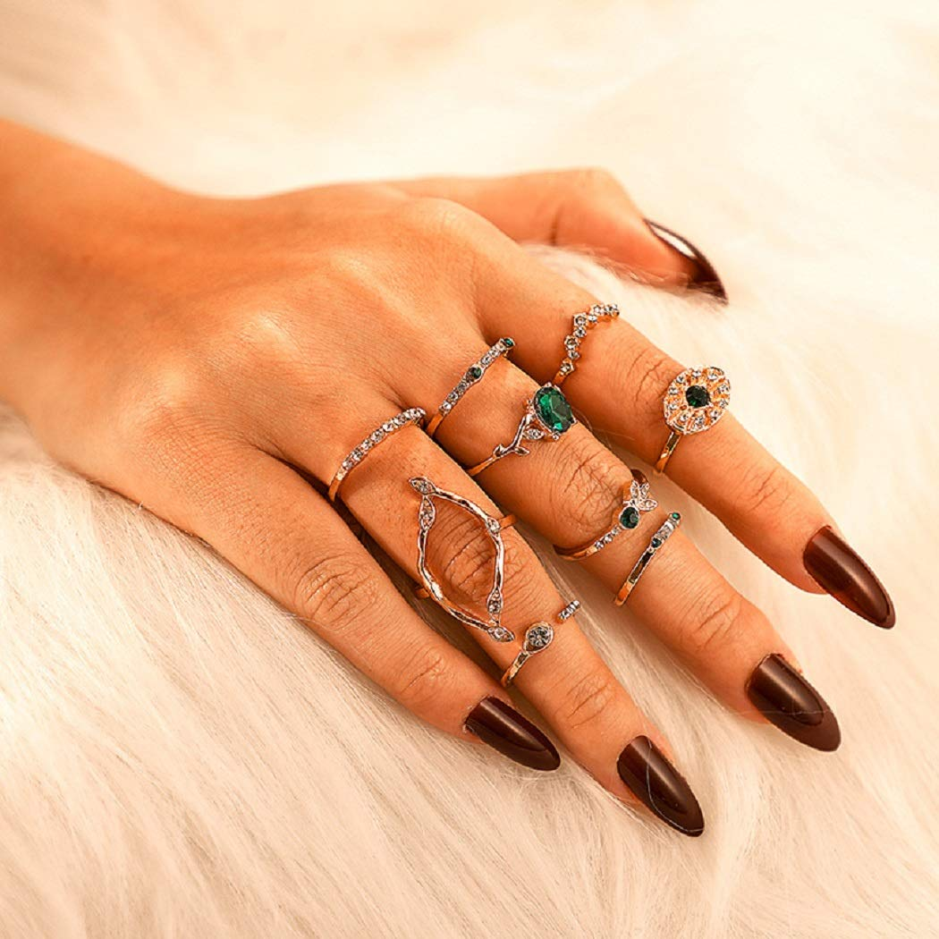 Protuster Boho Green Rhinestone Knuckle Ring Set Vintage Stackable Joint Midi Finger Rings Set Gold Crystal Hand Accessories Jewelry for Women and Teens Girls (Pack of 9)