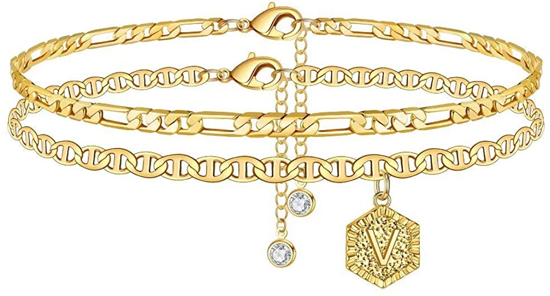 Memorjew Initial Ankle Bracelets for Women, 14K Gold Plated Double Layered Initial Anklets Jewelry for Women Teen Girls