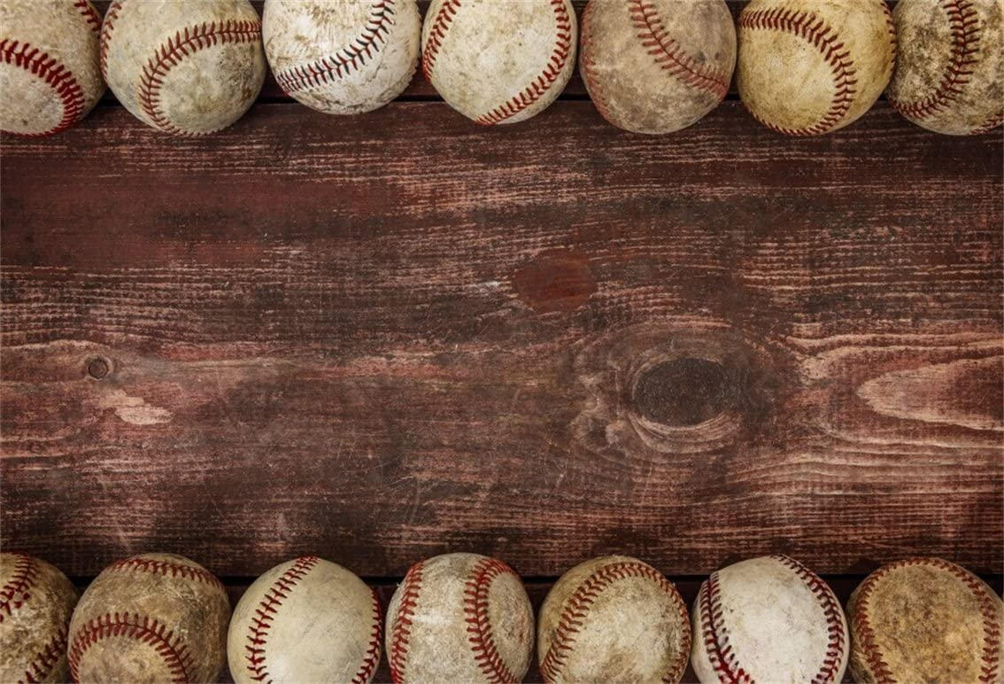 AOFOTO 5x3ft Baseball Ball On Wooden Board Background Dirt Hardball Vintage Photography Backdrop Batter Pitcher Hit Batting Catcher Sports Athletic Player Match Game Photo Studio Props Kid Portrait