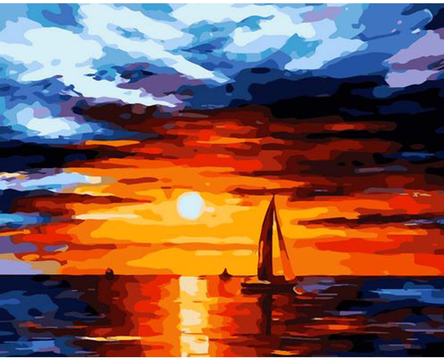 Adults Paint by Numbers On Canvas,Sunset & Sailing & Boat Painting by Numbers for Kids & & Beginne,16 x 20 inch DIY Canvas Colorful Talk Oil Painting Drawing Kit,Paintwork with Paintbrushes
