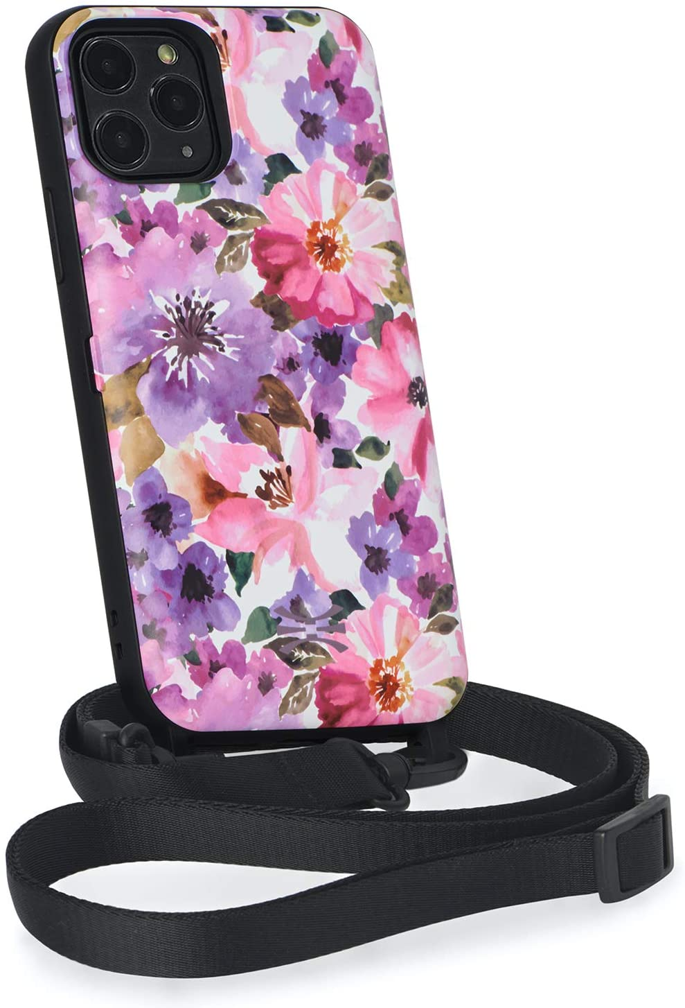 TORU CX Cross iPhone 11 Pro Wallet Case Pattern Floral with Hidden Credit Card Holder ID Slot Hard Cover, Crossbody Strap, Mirror & Lightning Adapter for Apple iPhone 11 Pro (2019) - Garden Flowers