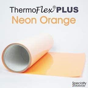 Thermoflex Plus Heat Transfer Vinyl (HTV) Iron-on for Silhouette Cameo, Cricut, etc (Neon Orange, 15