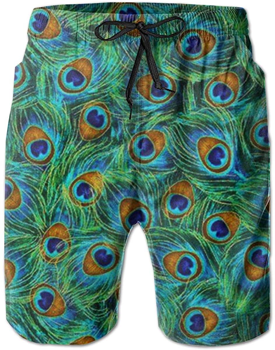AMRANDOM Boys Board Shorts Peacock Feathers Green Quick Dry Swim Surf Trunks