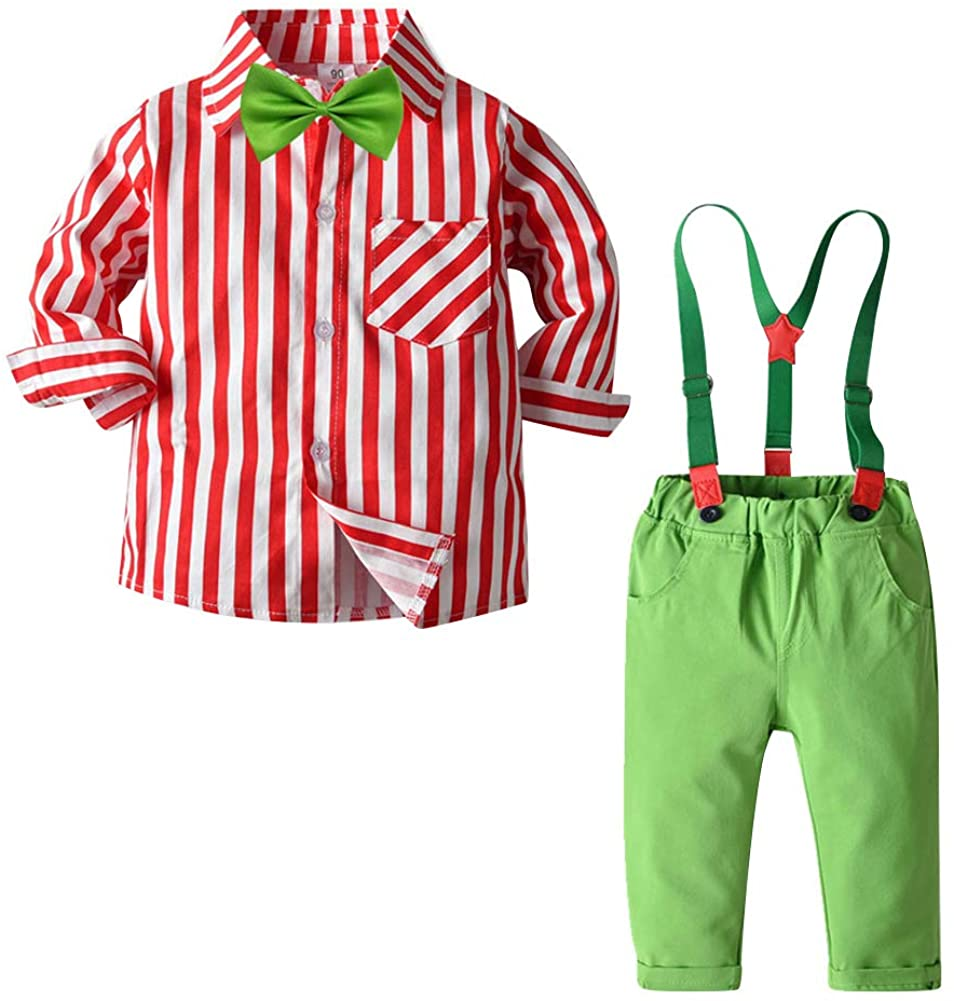 Toddler Baby Boys 1st Christmas Gentleman Formal Suit Suspender Overalls Dress Pants Bow Tie Shirt Tuxedo Clothes Sets