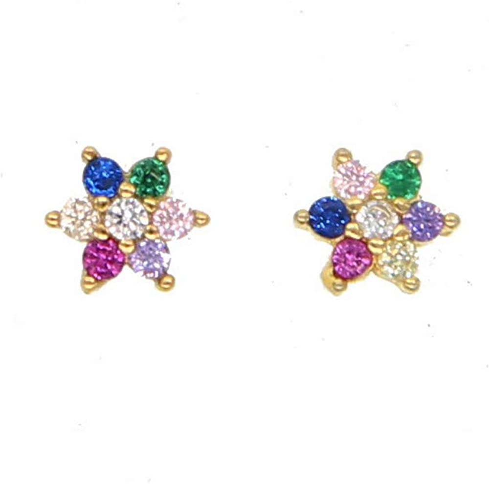 ATJMLADYJEWELRY Gold Plated 925 Silver Colorful Flowers 2019 Spring Earring Stud for Girl