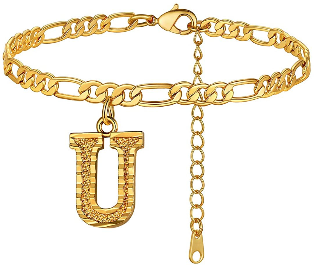 ChainsHouse 4.5mm Initial Anklet Gold Letter Figaro Chain 18K Gold Plated Ankle Bracelets for Women Teen Girls Summer Alphabet Foot Jewelry with Extension