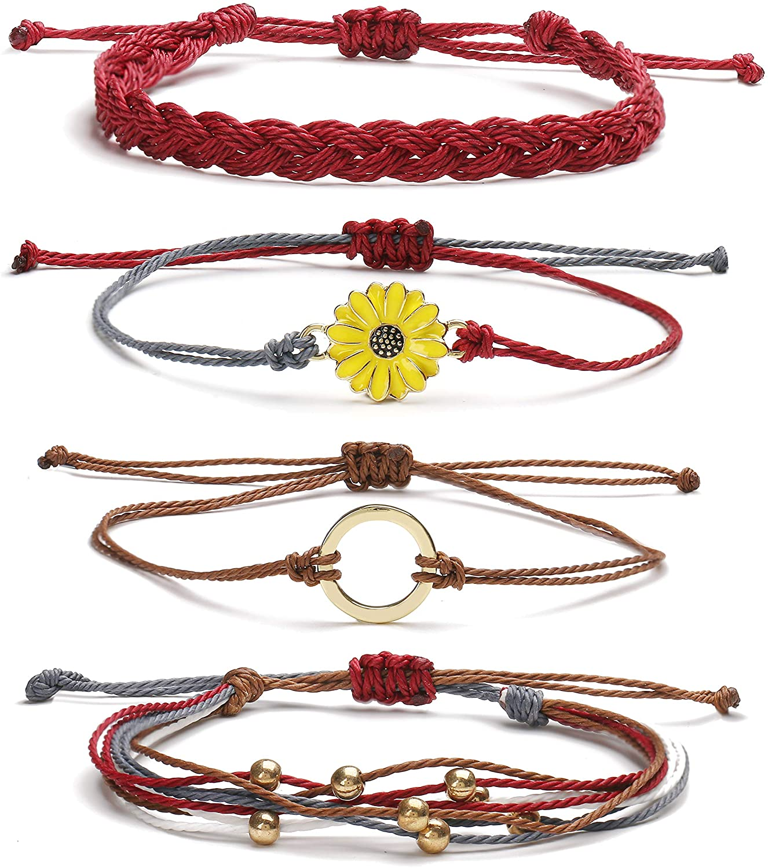 Long tiantian String Wave Bracelets for Women Adjustable Compass Bracelets Waterproof Handmade Strand Braided Rope Sunflower Boho Bracelet Set Women Teen Girls