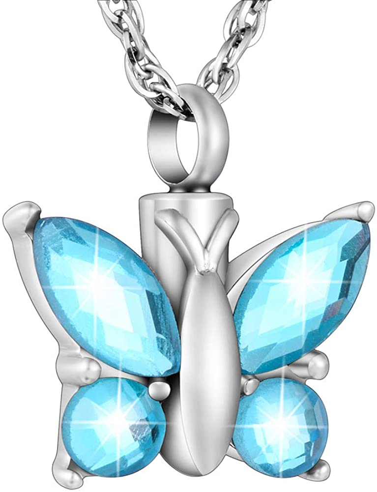 Dletay Cremation Jewelry for Ashes Crystal Butterfly Shape Stainless Steel Pendant Urn Necklace Keepsake for Women with Filling Kits