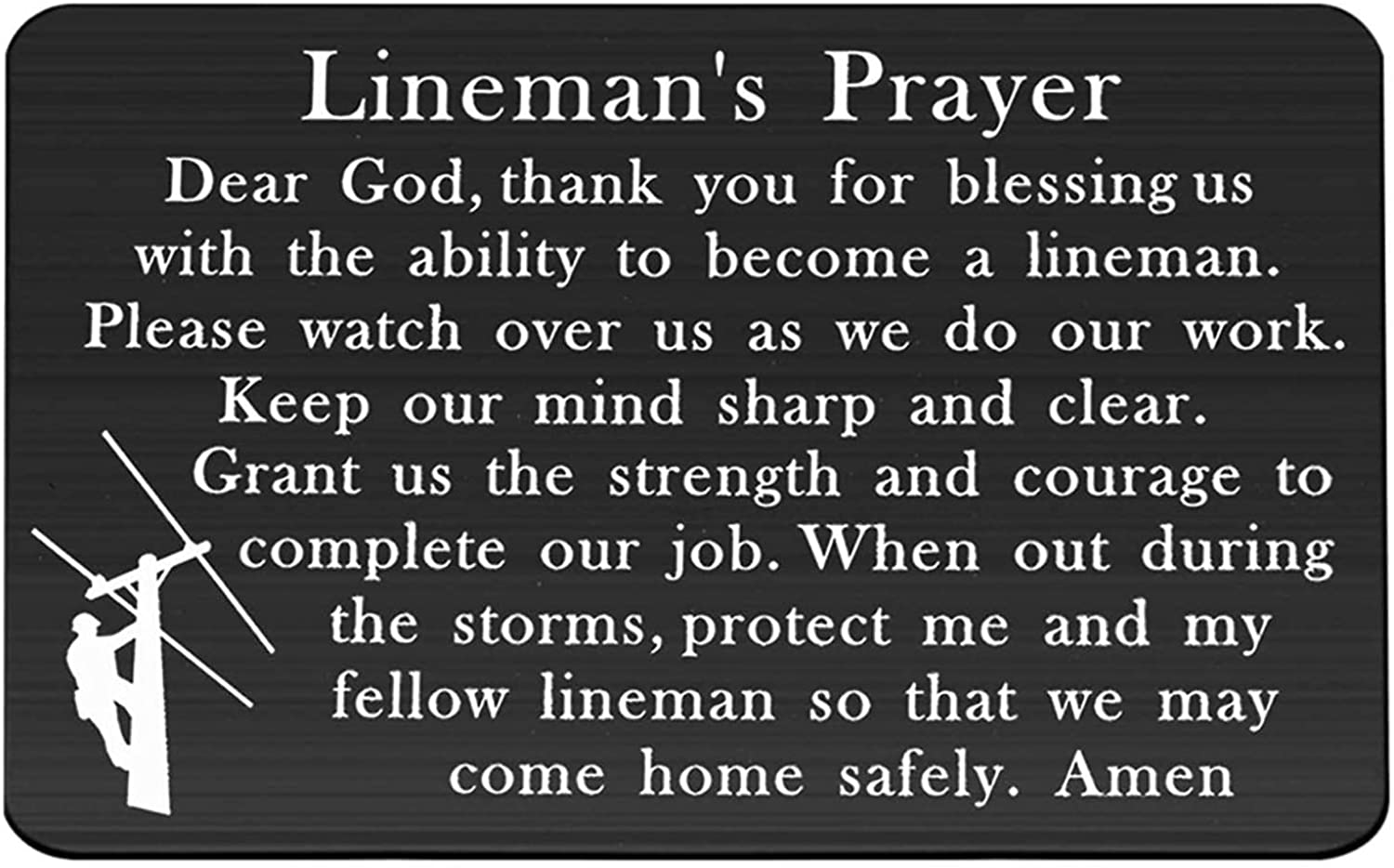 Gzrlyf Lineman Prayer Wallet Card Insert Lineman Gifts for Him Husband Gifts Father Uncle