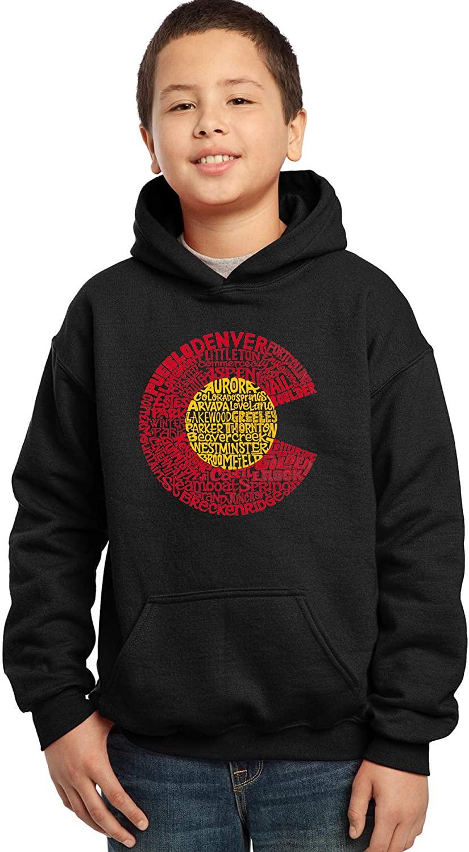 LA Pop Art Boy's Word Art Hooded Sweatshirt - Colorado