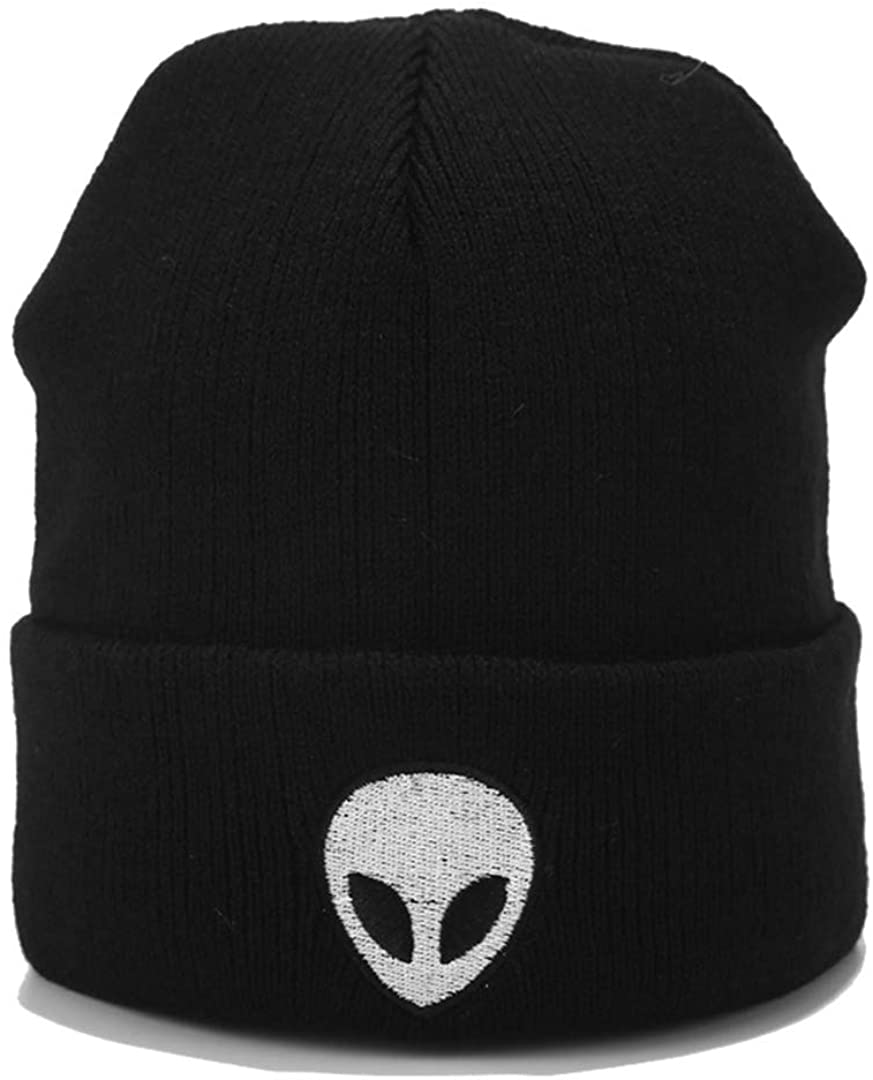 Joylife Alien Embroidered Cuffed Beanie Hat Unisex Knitted Skull Cap Double Layer Winter Hats