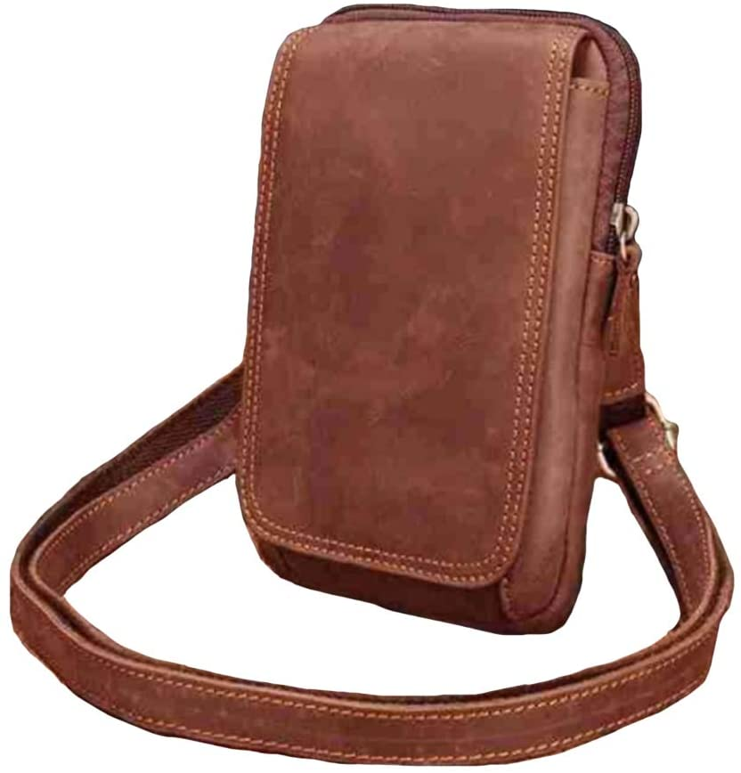 Leather Fanny Pack, Waist Belt Loop Bag, Cellphone Holster Case Pouch,Belt Bag,Bum Bag for Men Women Vertical-Brown