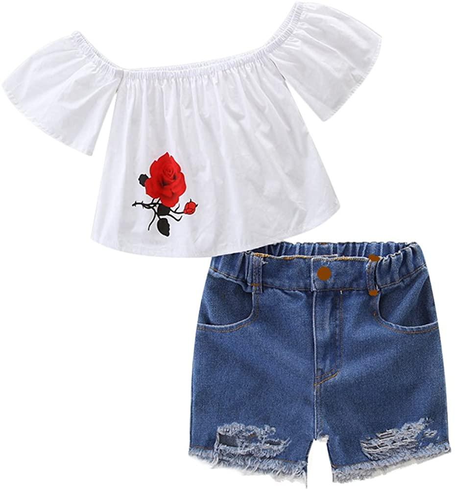 Verypoppa Little Girls Summer Set Flower Off Shoulder T Shirt Blouse Top + Denim Jeans Shorts Outfit