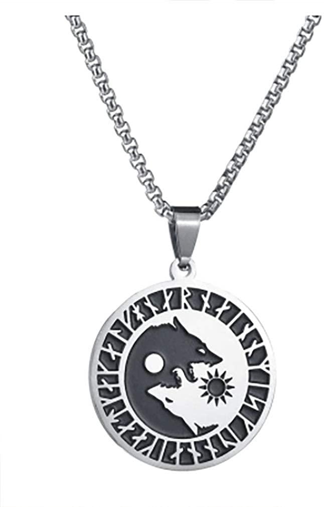 AccessCube Unisex Metallic Viking Pendant Necklace for Men Jewelry Black Leather Viking Metal Chain Scandinavian Necklace