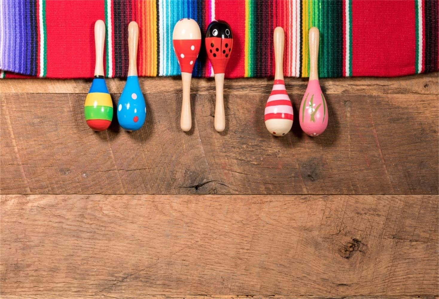 Leowefowa Maracas Serape Rustic Wood Board Backdrop 10x8ft Mexican Fiesta Party Vinyl Photography Background Child Kids Baby Photo Shoot Craft Show Background