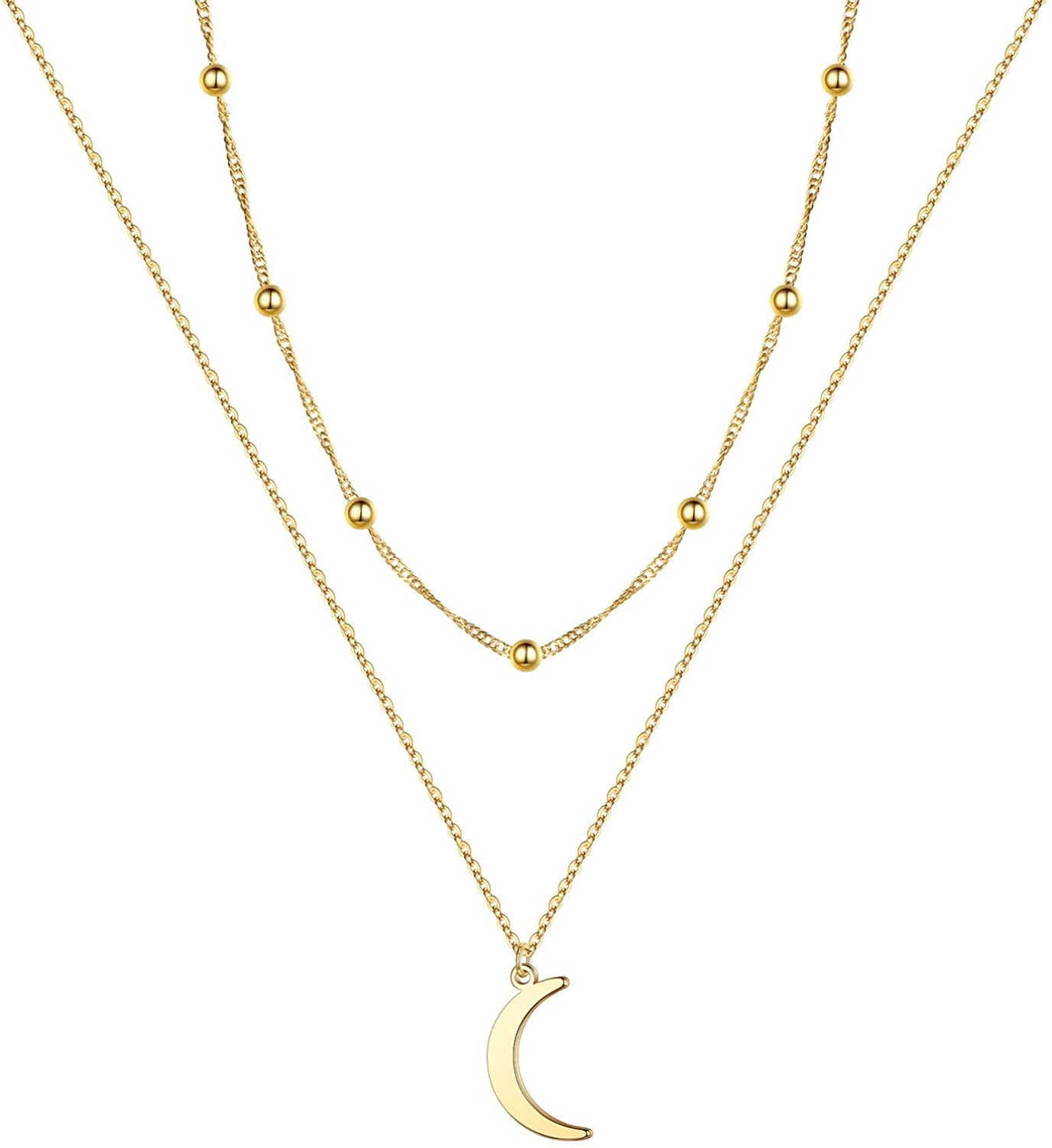 Turandoss Gold Moon Necklaces for Women, 14K Gold Plated Dainty CZ Hammered Coin Full Karma Circle New Crescent Moon Phase Pendant Layered Moon Necklaces for Women Girls Jewelry