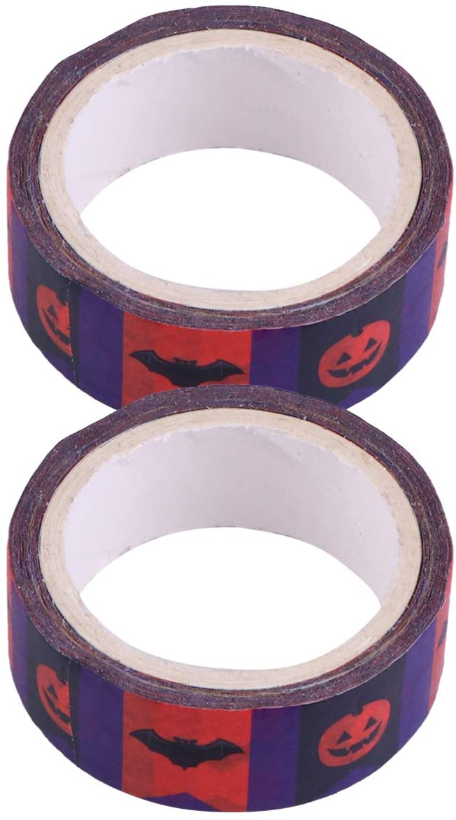 NUOBESTY Halloween DIY Tape Gift Wrapper roll Holiday Washi Tape Holiday Sticker Adhesive Tape Paper for Home Shop Bar School Party Ornaments 2 Roll