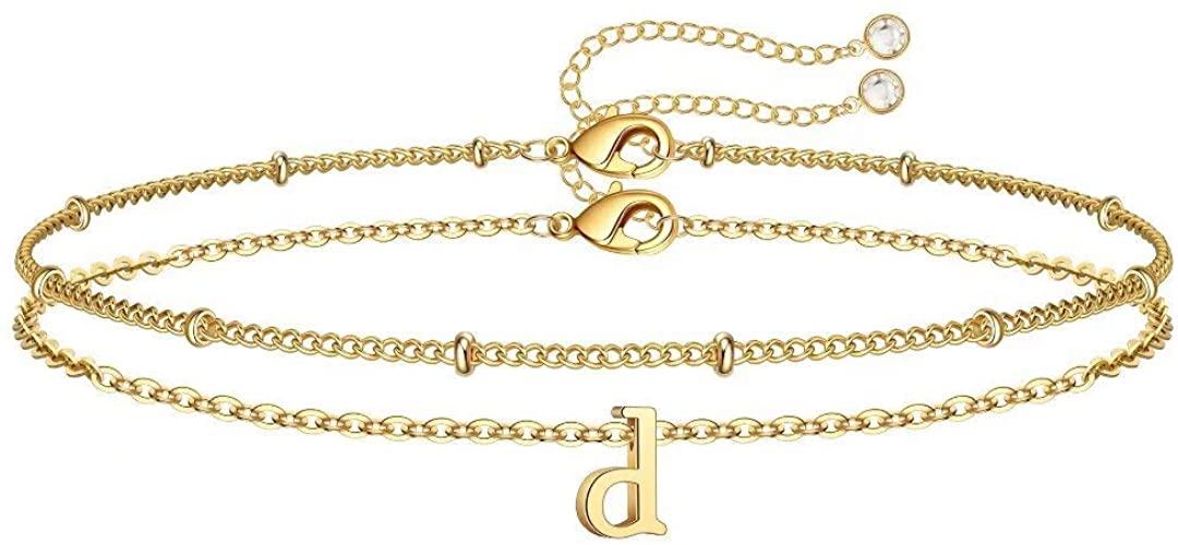 Memorjew Initial Bracelets for Women, 14K Gold Plated Layered Initial Bracelets for Women Girls Jewelry Gifts