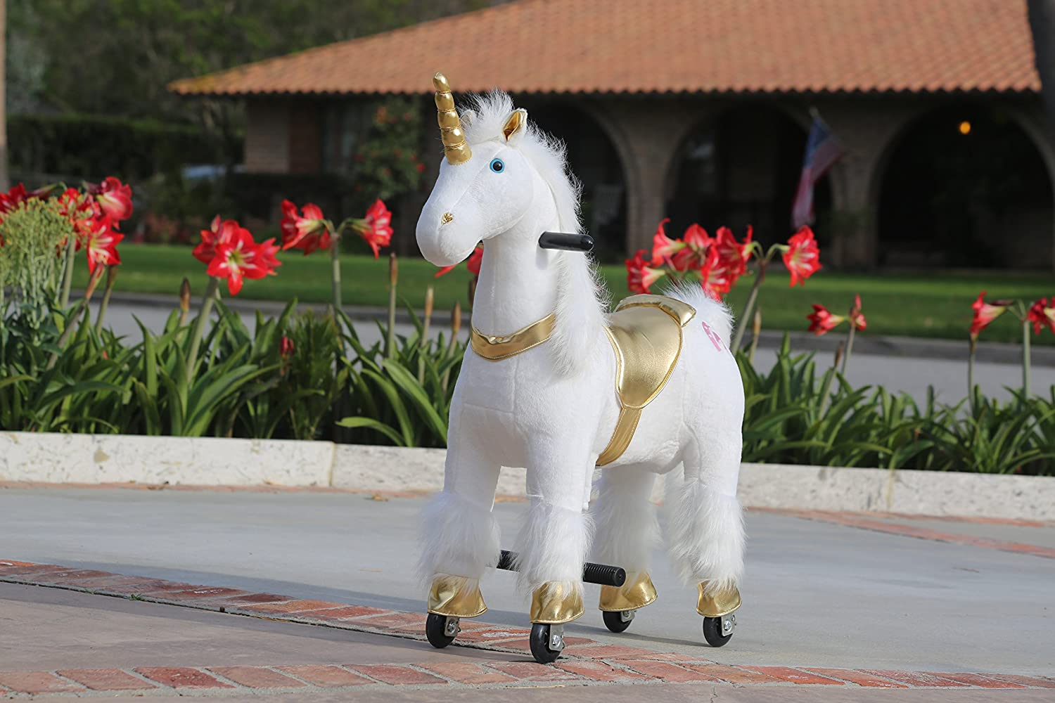 Medallion - My Pony Ride On Real Walking Horse for Children 3 to 6 Years Old or Up to 65 Pounds (Color Small Golden Unicorn)