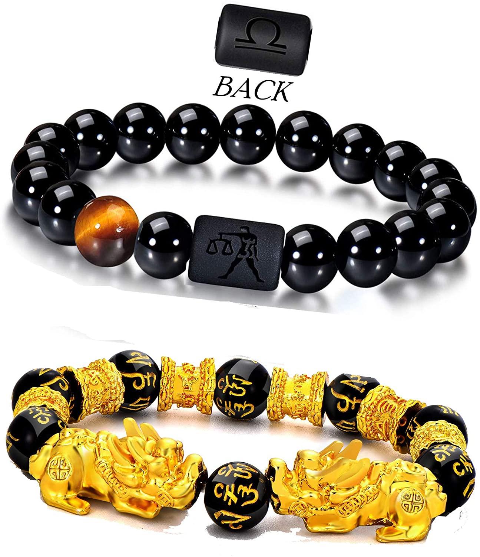 GIFTPRAMD Feng Shui Black Obsidian Wealth Bracelet 2PCS for Good Luck Elastic Bracelet Zodiac Stone Bracelet Black Mantra Bead with pixiu Obsidian Necklace Set