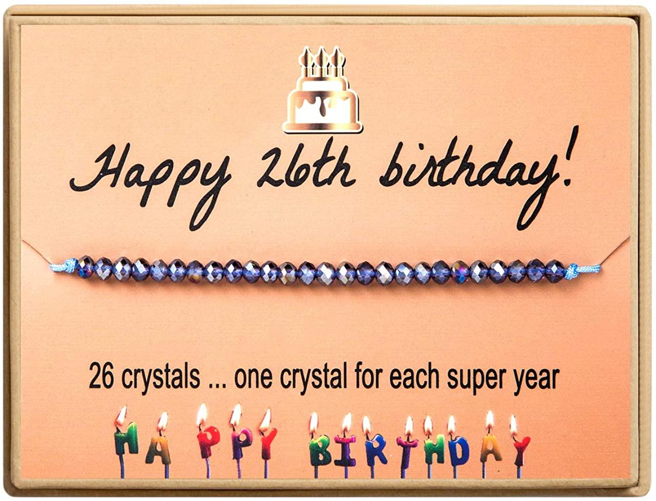 KGBNCIE Happy Birthday Gifts Bracelet Crystal Beads Bracelet Gift for Women Girls 11st 12th 13th 14th 15th 16th 17th 18th 19th 20th 21th 25th 30th