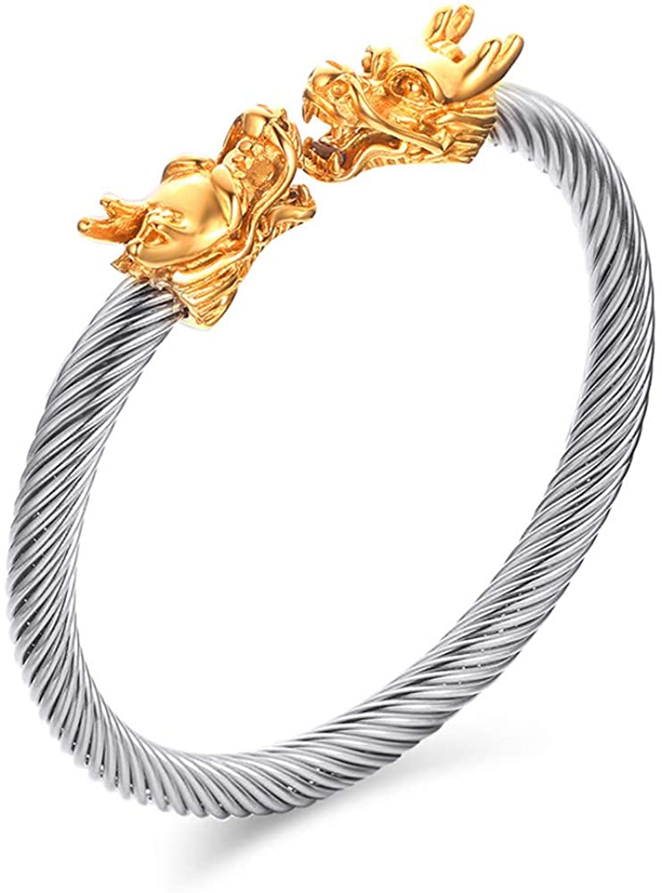 BEANS Jewelry Mens Stainless Steel Opposite Dragon-Themed Twisted Wire Viking Cuff Bangle Bracelet,6 Color