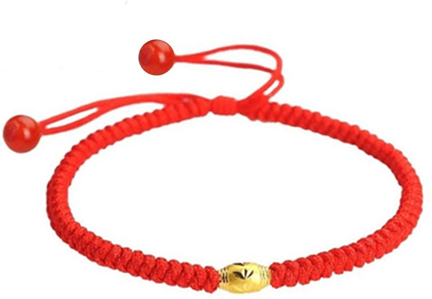 Lucky Rope Bracelet,Chinese Style Bright Red Gold Bead Adjustable Bracelet,Hand Braided Knots Protection Faith Unisex