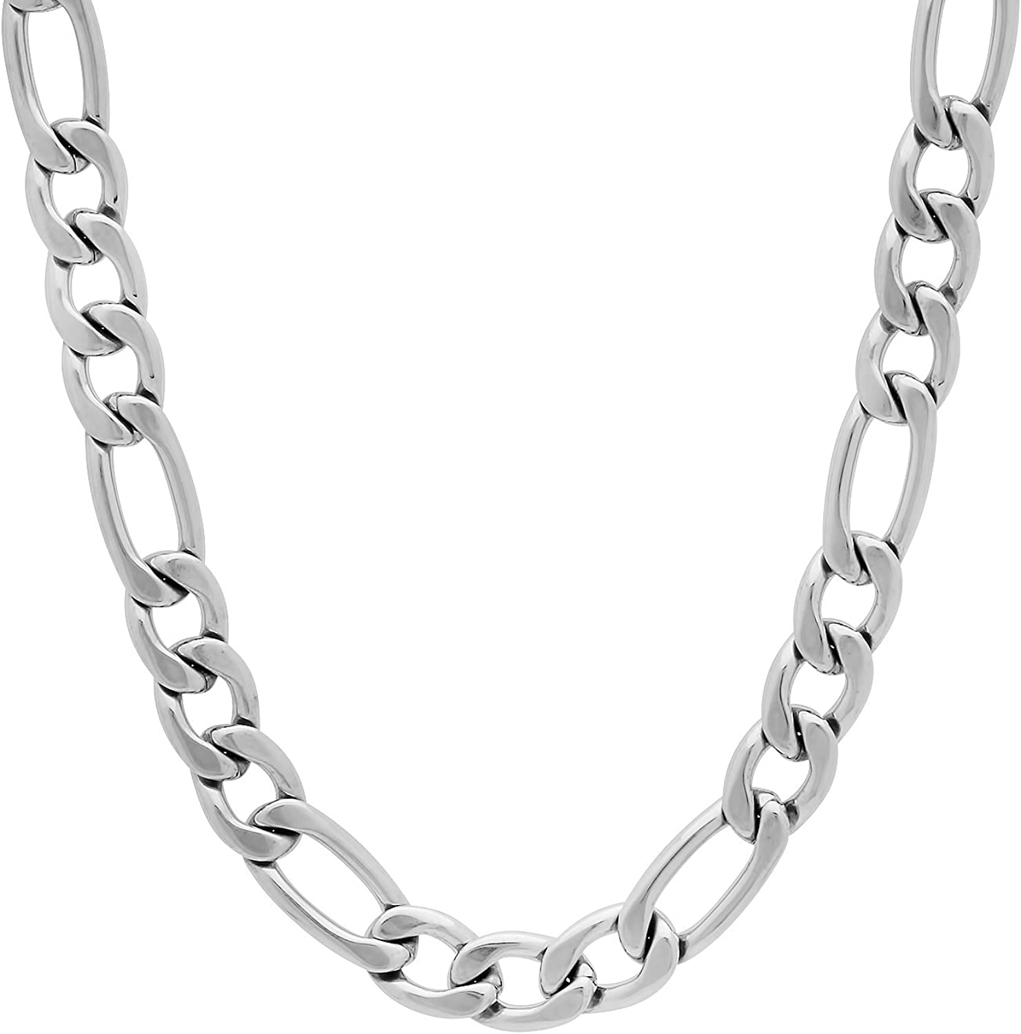 The Bling Factory 7mm High-Polished Stainless Steel Flat Figaro Chain Necklace, 20'-30