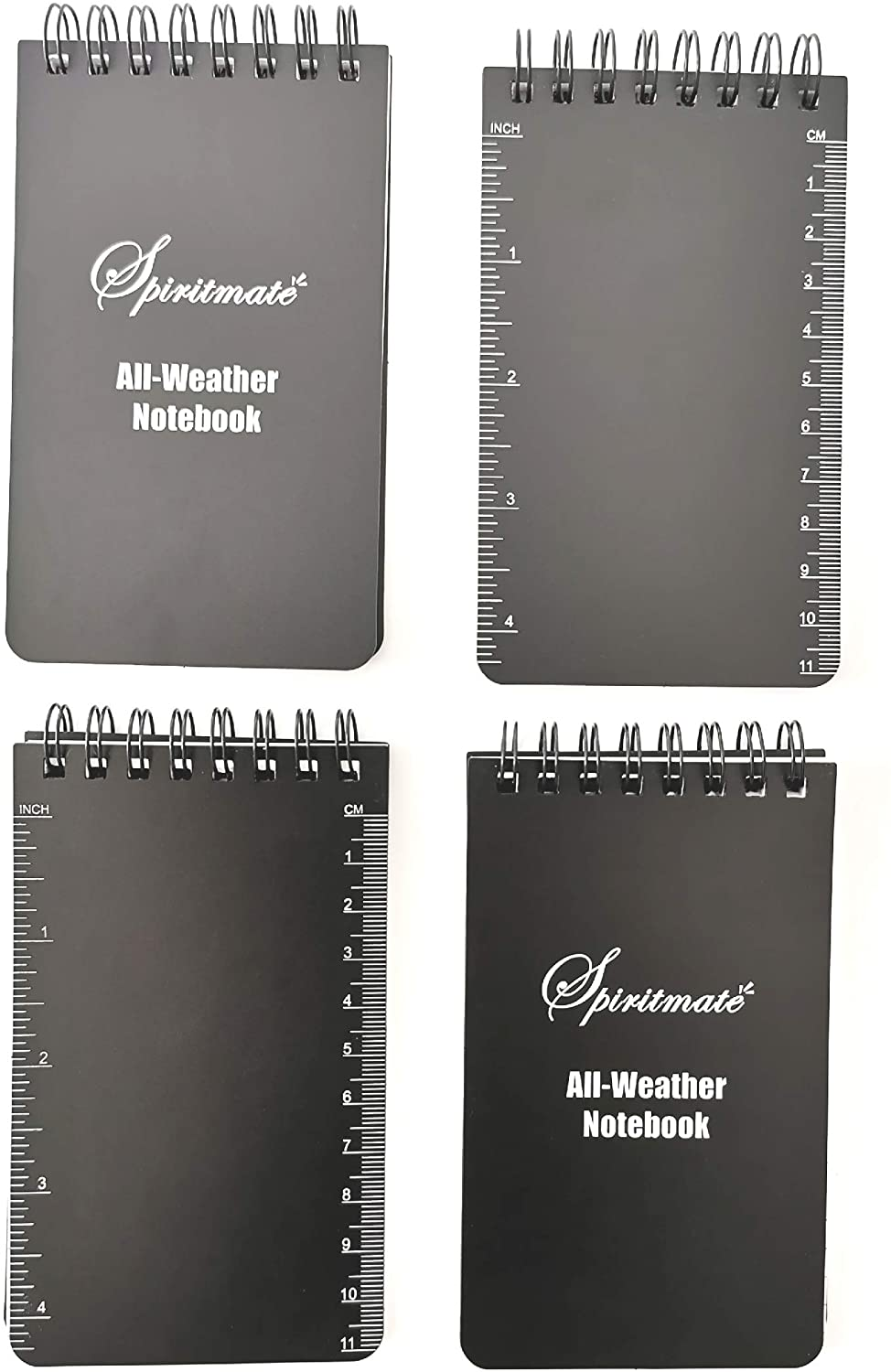 SPIRITMATE All-Weather Top Spiral Notebooks 3x5inches Hardcover Thick 120G Waterproof Stone Paper, Ruled line and Graph Grid in One Design Note Pads, 50Sheets/100PagesPer Each Notebook (4Pack)