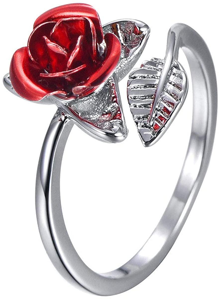 Nobranded Silver Rose Gold Adjustable Rose Flower Leaf Ring for Woman