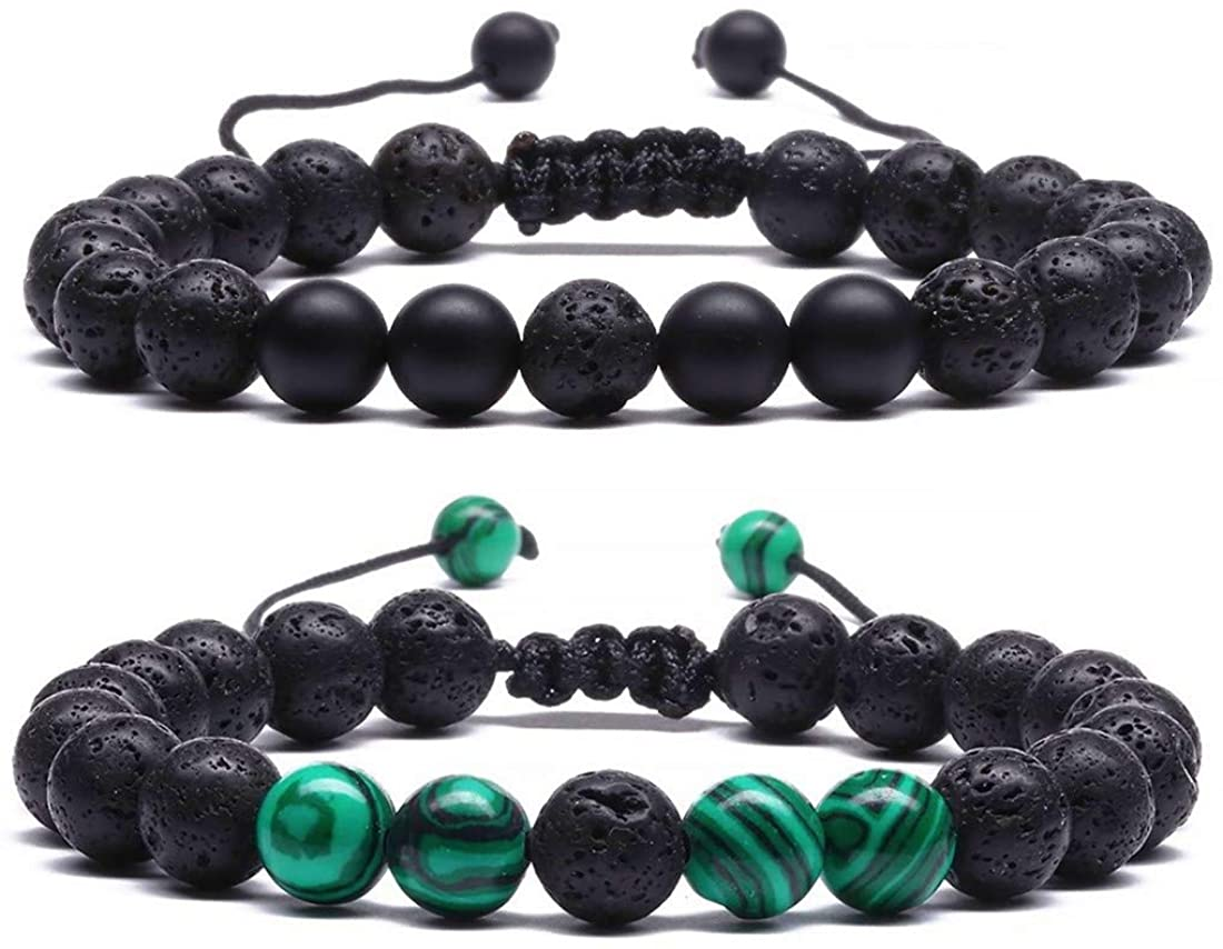 MengPa Lava Rock Bracelet Yoga Aromatherapy Anxiety Essential Oil Diffuser Volcanic Stone Bead Bangle for Women Men