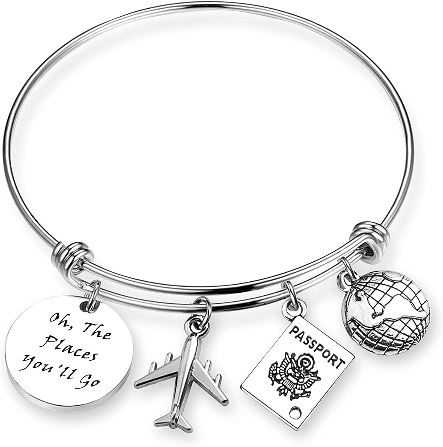 Travel Bracelet Graduation Gift Inspiration Jewelry Oh The Places You Will Go Traveler Bangle Charm Bracelets Gift for Travel, Graduation