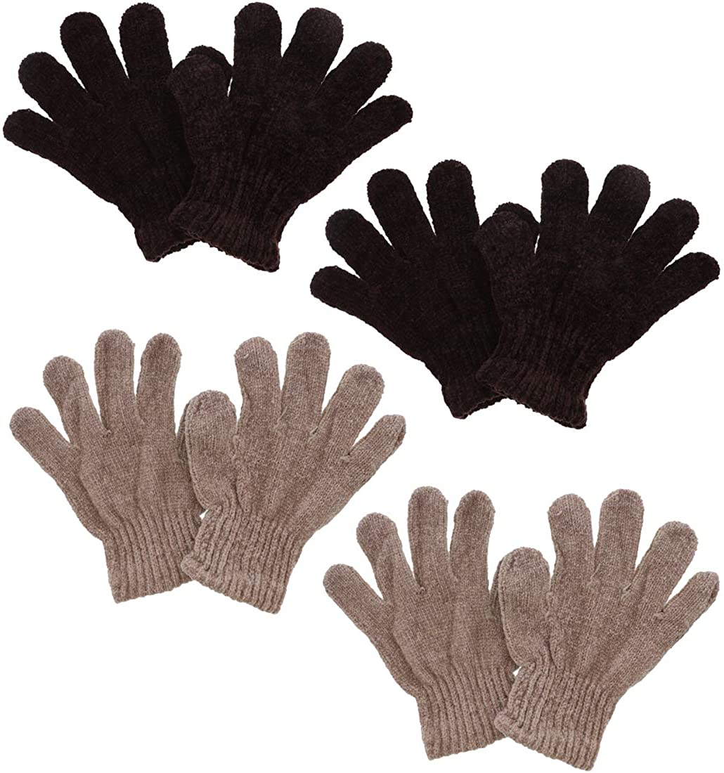 Chenille Kids Gloves Warm Winter Gloves - Set of 4