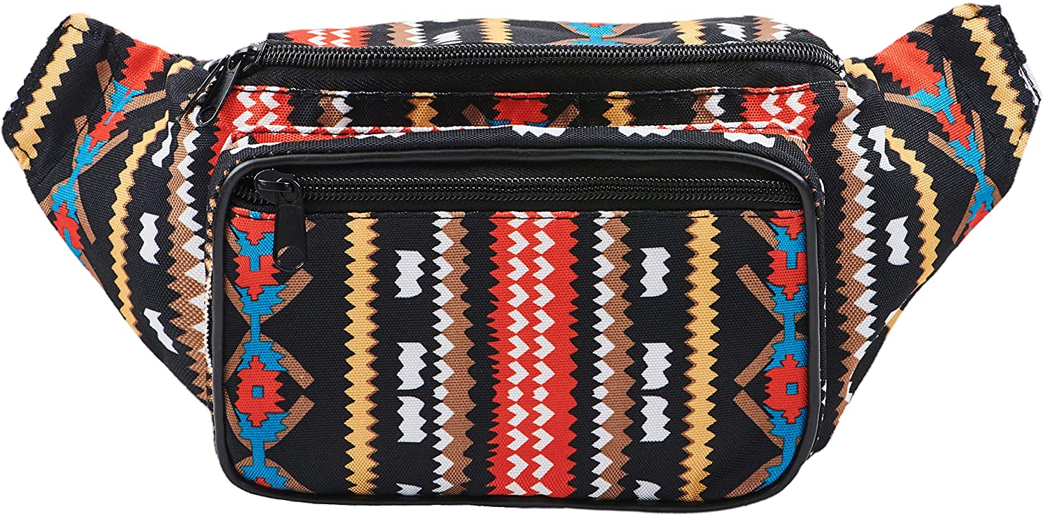 Festival Fanny Pack - Boho, Hippy, Eco, Woven, Cotton & Tribal Poly Styles (Black)