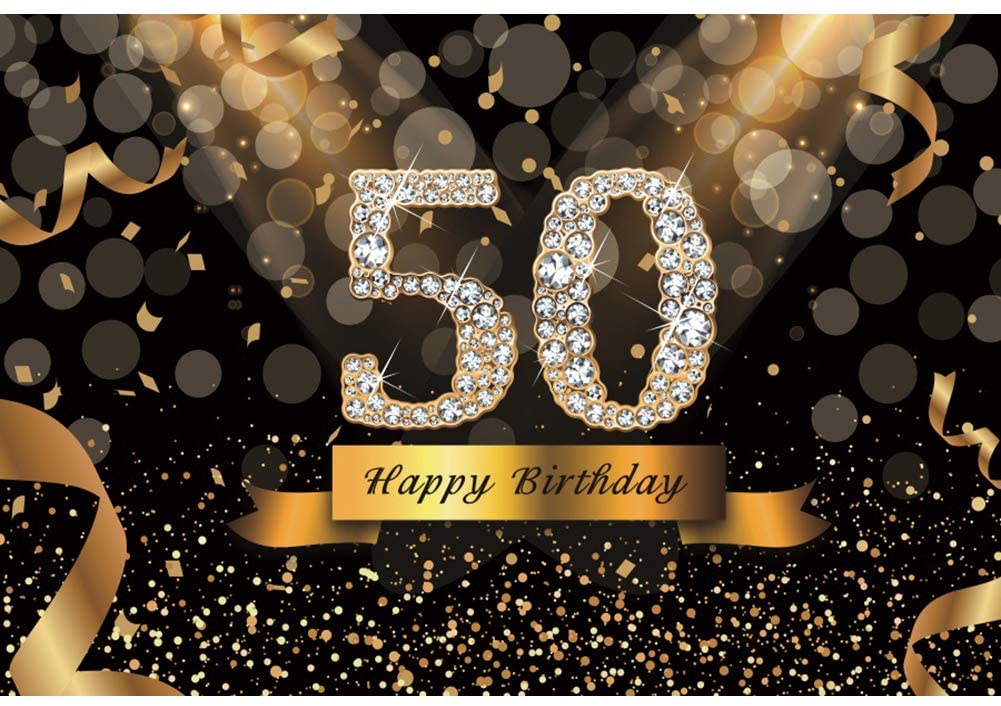 DORCEV 8x6ft Happy 50 Birthday Backdrop for Fifty Years Old Age Party Fifty Year Anniversary Photography Background Luxury Diamond Halo Glitter Gold 50th Party Banner Celebration Photo Studio Props